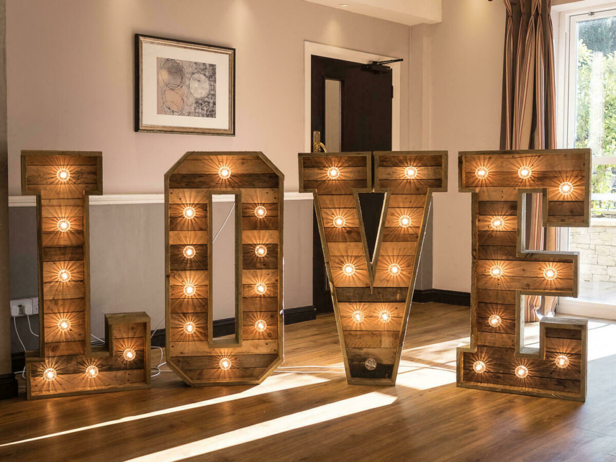 Big 'love' letters with lights