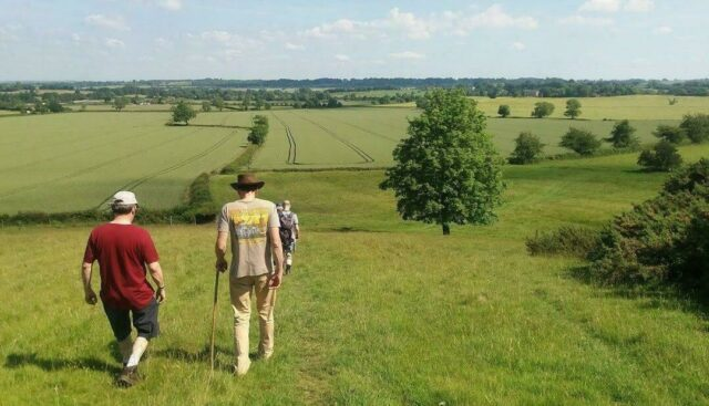 Ramblers walking through a field