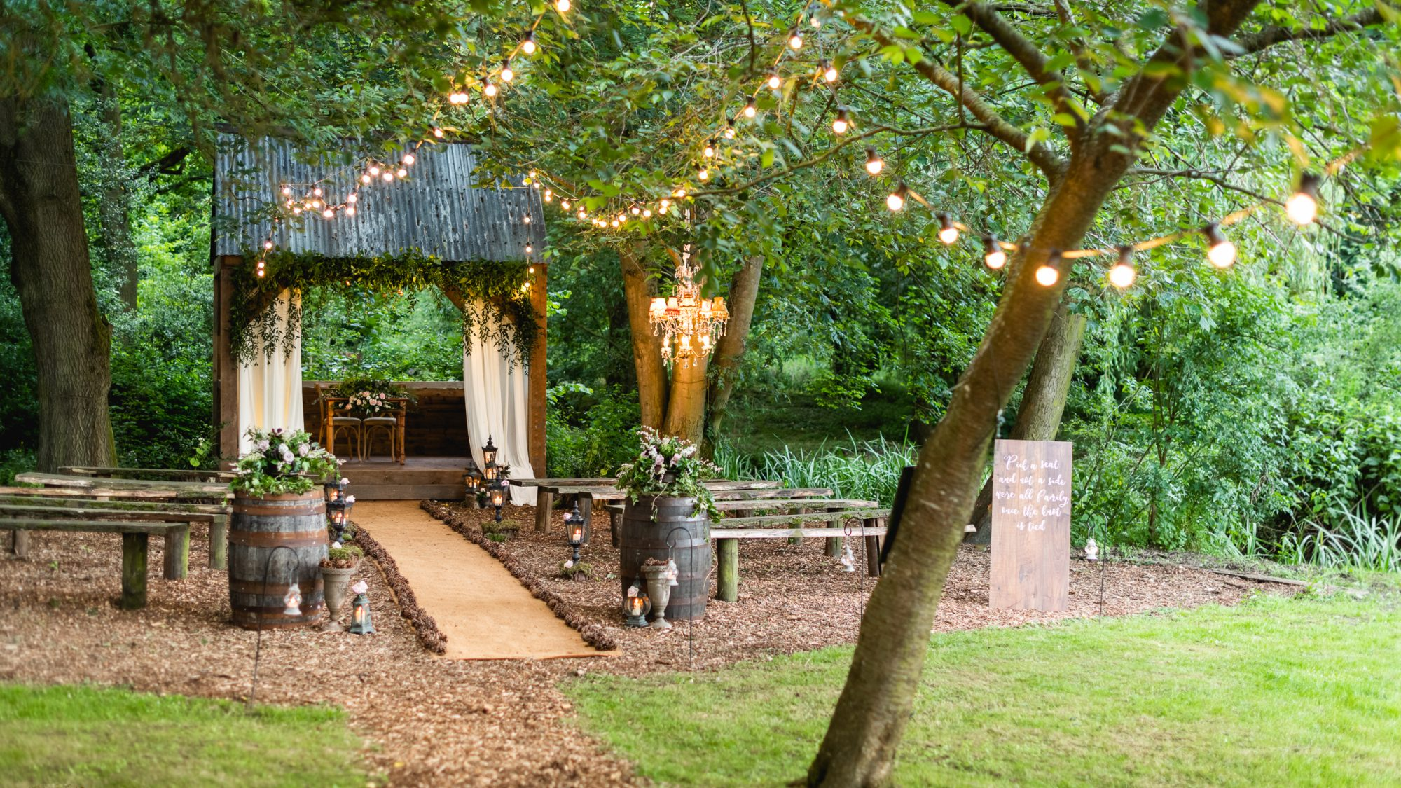 The Hideaway outdoor wedding ceremony area