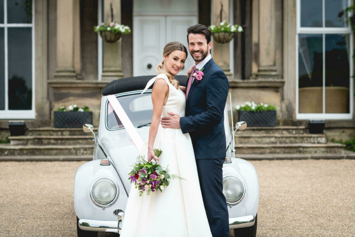 Couple marrying at Hothorpe Hall