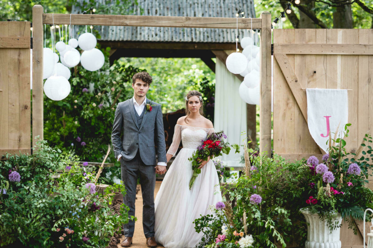 The Woodlands bride and groom outdoor ceremony