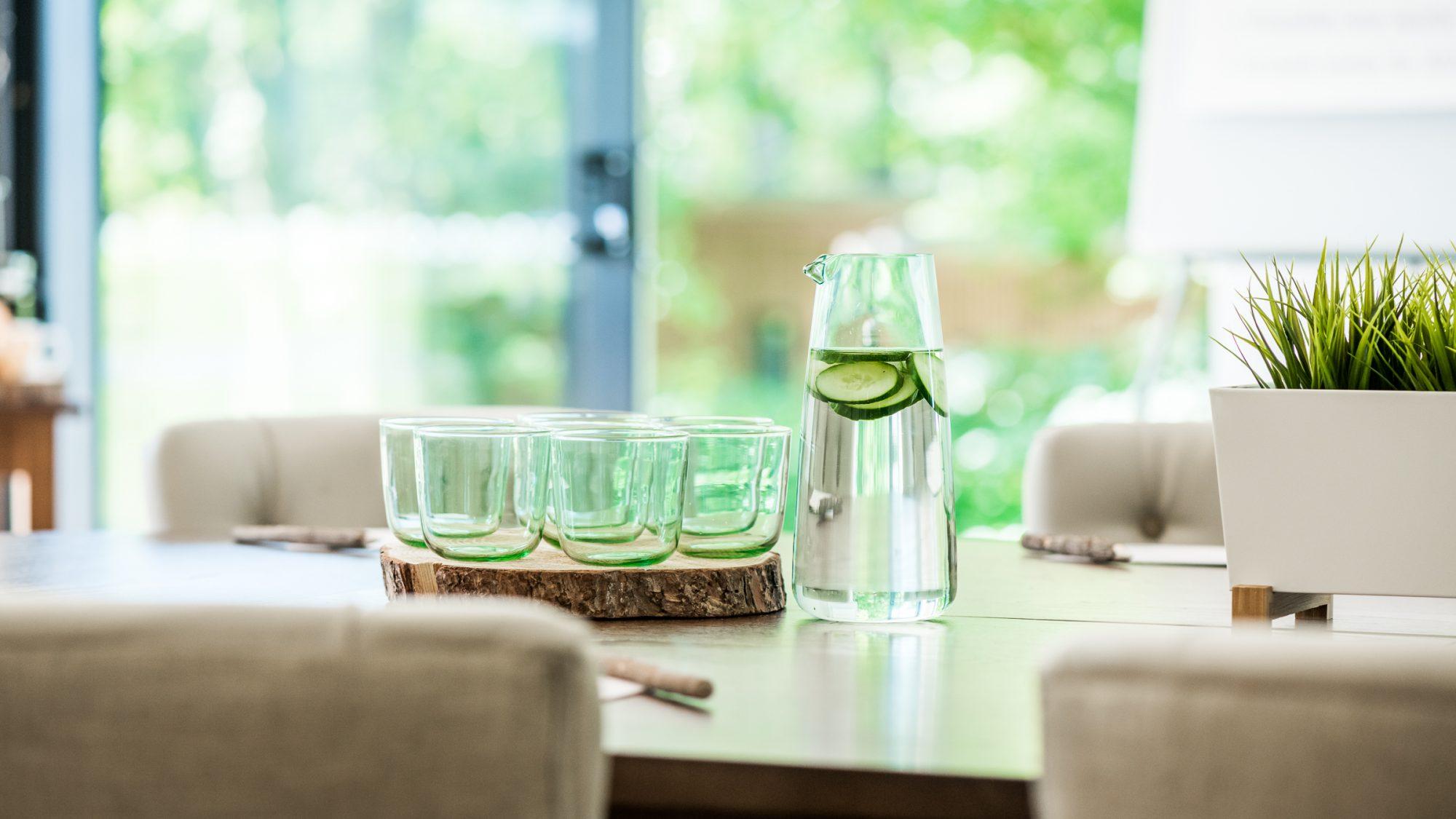 glasses and water jug